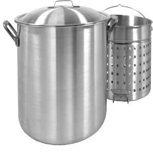 100 qt. Aluminum Stock Pot in Silver with Lid