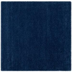 Milan Shag Navy 10 ft. x 10 ft. Square Solid Area Rug