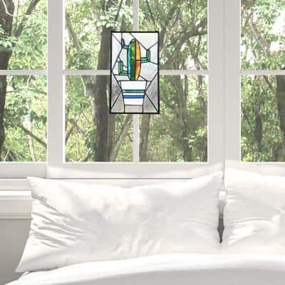 Multi-Colored Cactus Stained Glass Window Panel