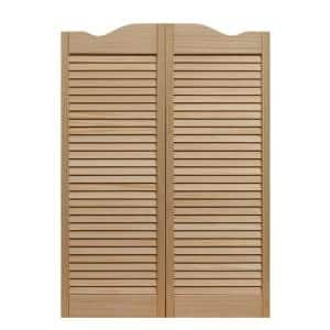 32 in. x 42 in. Dixieland Louvered Unfinished Pine Wood Saloon Door