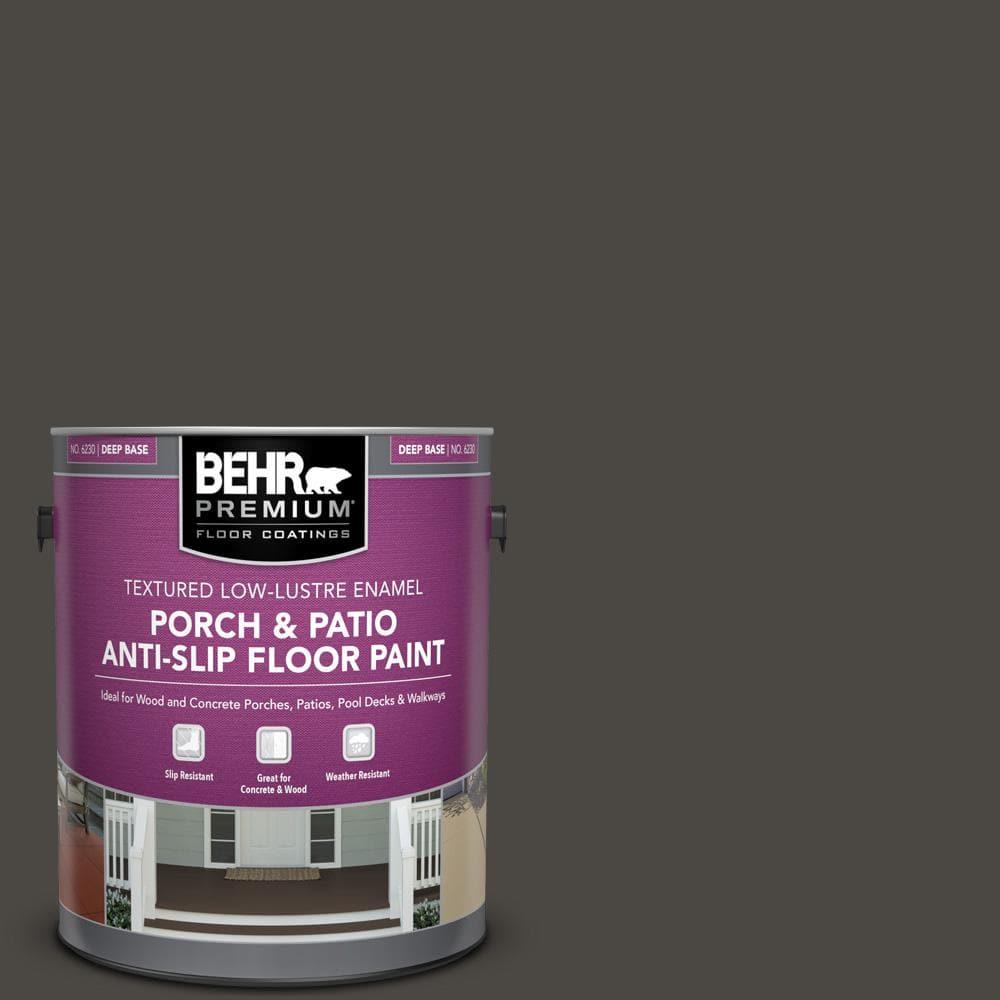Behr Premium 1 Gal Ppu24 01 Black Mocha Textured Low Lustre Enamel Interior Exterior Porch And Patio Anti Slip Floor Paint 623001 The Home Depot