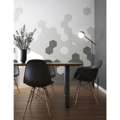 Giant Hexagon Greige 9.38 in. x 10.83 in. x 5 mm in Metal Peel and Stick Wall Tile (2.12 sq.ft/pack)