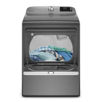 7.4 cu. ft. 120-Volt Smart Capable Metallic Slate Gas Dryer with Hamper Door