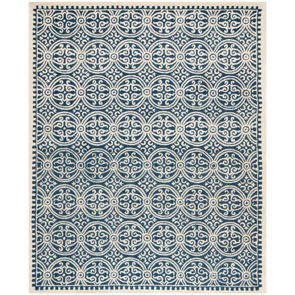 Safavieh Cambridge Navy Blue Ivory 8 Ft X 10 Ft Area Rug Cam123g 8 The Home Depot