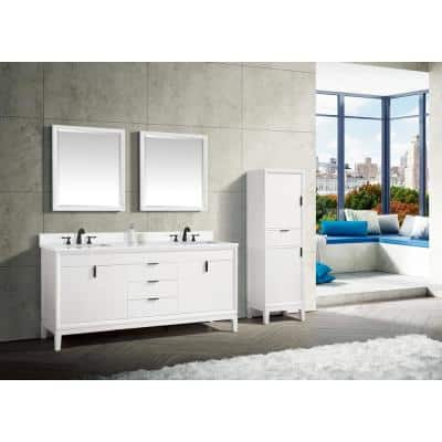 Emma 73 in. W x 22 in. D Bath Vanity in White with Engineered Stone Vanity Top in Cala White with White Basins