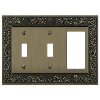 Bleinhem 3 Gang 2-Toggle and 1-Rocker Metal Wall Plate - Brushed Brass