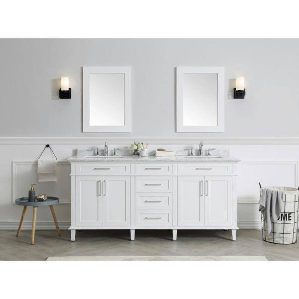 Home Decorators Collection Sonoma 72 In W X 22 In D Bath Vanity In White With Carrara Marble Top With White Sinks Sonoma 72w The Home Depot