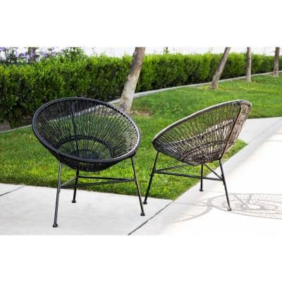 Vanessa Black Steel Outdoor Lounge Chair (2-Pack)