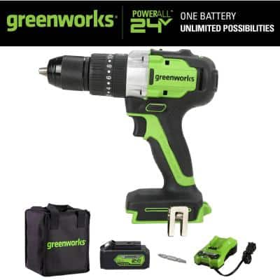 24-Volt Battery Cordless Brushless 1/2 in. Hammer Drill with 4.0 Ah USB Battery and Charger