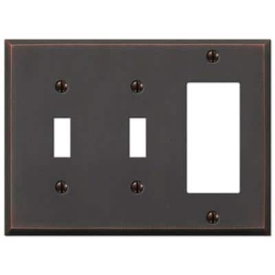 Manhattan 3 Gang 2-Toggle and 1-Rocker Metal Wall Plate - Aged Bronze