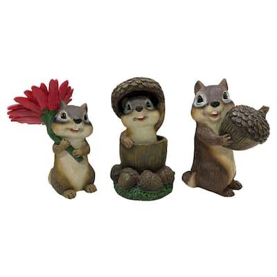 5.7 in. Summertime Chipmunks Indoor/Outdoor Garden Statues (3-Pack)