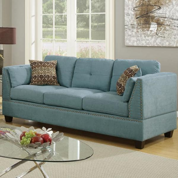 Venetian Worldwide Abruzzo 2 Piece Hydra Blue Velvet Sofa Set Vene F6918 The Home Depot