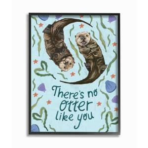 16 in. x 20 in. ''There's No Otter Like You with Starfish and Clams Painting Typography'' by Kiel Evins Framed Wall Art