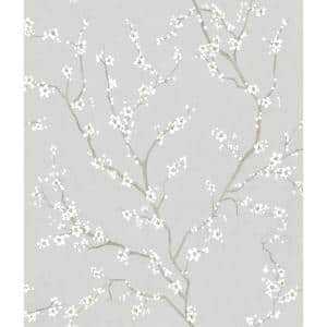 Grey Cherry Blossom Vinyl Peel & Stick Wallpaper Roll (Covers 28.18 Sq. Ft.)