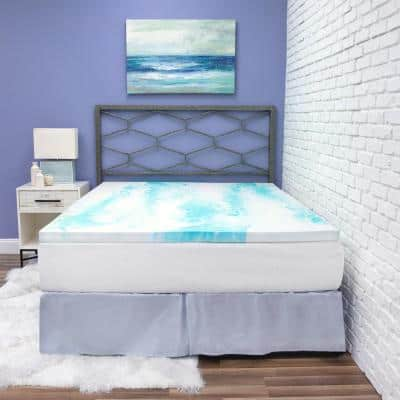 2 in. Blue/White Gel Swirl Memory Foam King Mattress Topper