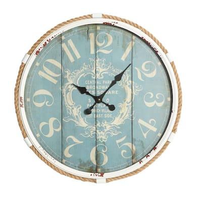 Turquoise Metal Coastal Wall Clock