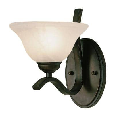 Hollyslope 1-Light Rubbed Oil Bronze Wall Sconce with Marbleized Glass Shade
