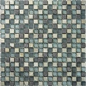 Gray and Silver 11.7 in. x 11.7 in. Square Polished Glass and Stone Mosaic Tile (4.75 sq. ft./Case)