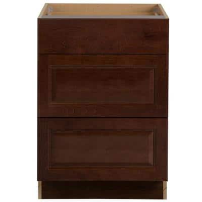 Benton Assembled 24x34.5x24 in. Base Cabinet with 3-Soft Close Drawers in Amber