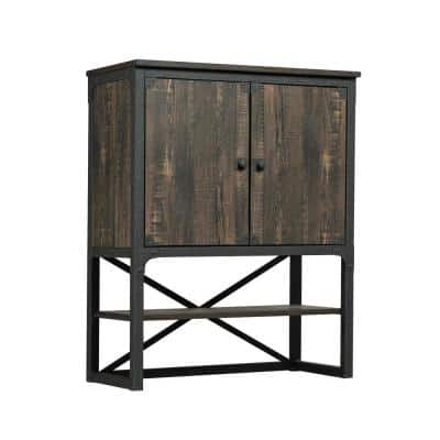 Steel River Carbon Oak Hutch with Doors and Open Shelf