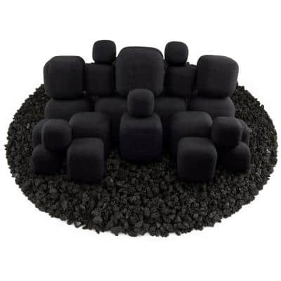 Black Ceramic Fire Squares Mixed Other Fire Pit and Fireplace Outdoor Heating Accessory (23-Pack)
