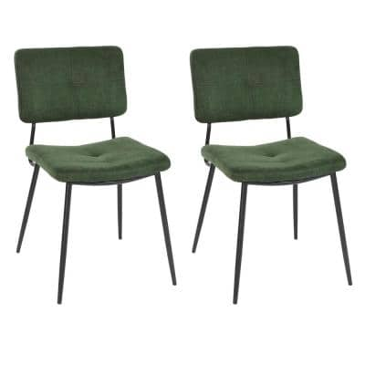 Karomi Green Fabric Dining Side Chair (Set of 2)