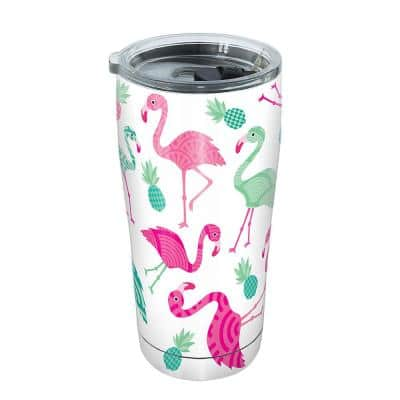 Flamingo Pattern 20 oz. Stainless Steel Tumbler with Lid
