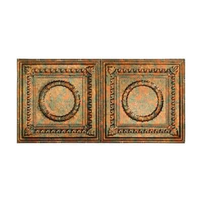 Rosette 2 ft. x 4 ft. Glue Up Vinyl Ceiling Tile in Copper Fantasy (40 sq. ft.)