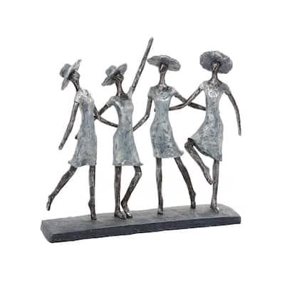 15 in. x 13 in. The Ladies Decorative Figurine in Colored Polystone