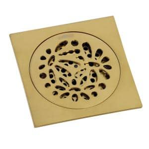Floral 4 in. Square Grid Shower Drain, Brushed Brass