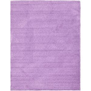 Solid Shag Lilac 10 ft. x 13 ft. Area Rug