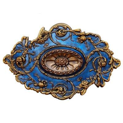 20 in. x 31-1/2 in. Golden Diamond, Gold, Bronze and Venetian Blue, Polyurethane Hand Painted Ceiling Medallion