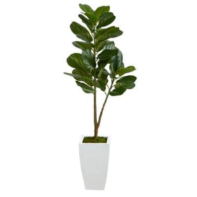4ft. Fiddle Leaf Fig Artificial Tree in White Metal Planter