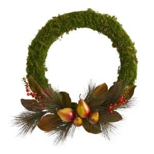 22 in. Pear, Magnolia and Moss Artificial Wreath