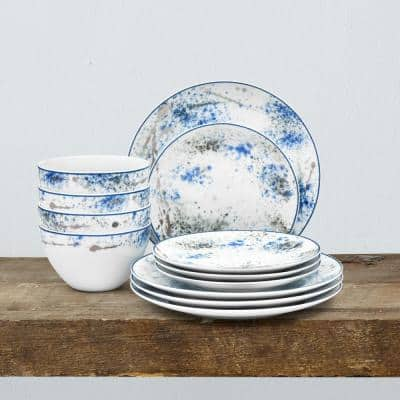 Blue Nebula 12-Piece Casual white/blue Porcelain Dinnerware Set (Service for 4)