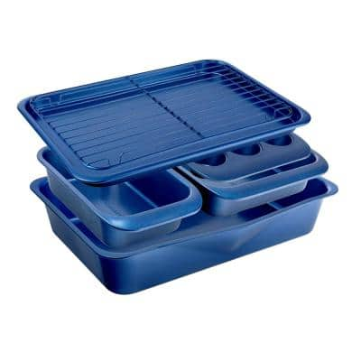 6-Piece Blue Carbon Steel Nonstick Space Saving Stackable Bakeware Set