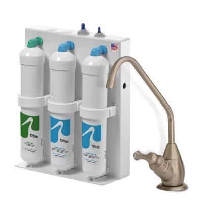 3-Stage Undercounter Drinking Water Filter with Brushed Nickel Dispenser
