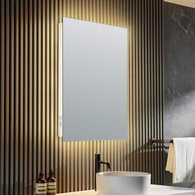 Stellar 28 in. W x 36 in. H Frameless Rectangular LED Bathroom Mirror with Bluetooth and Defogger in Silver
