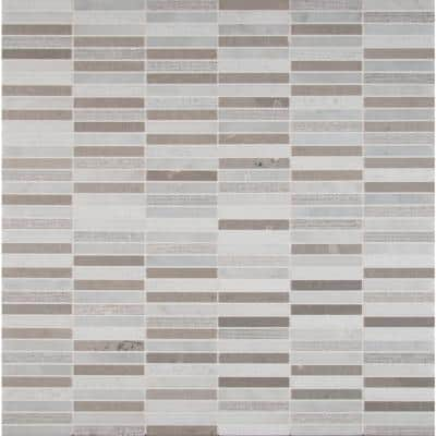 Linea 12 in. x 12 in. x 10mm Textured Marble Mesh-Mounted Mosaic Tile (10 sq. ft. / case)
