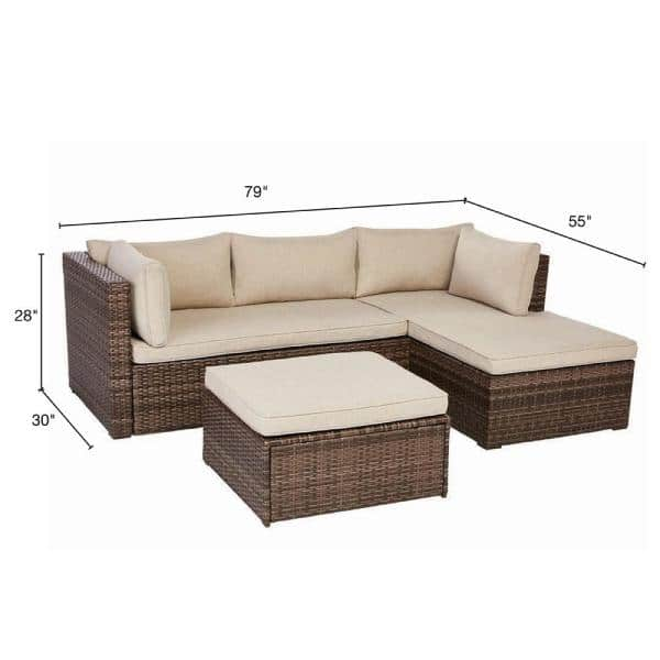 Valley Peak Low Profile 3 Piece All, Patio Furniture 3 Piece Sectional Sofa Resin Wicker Beige