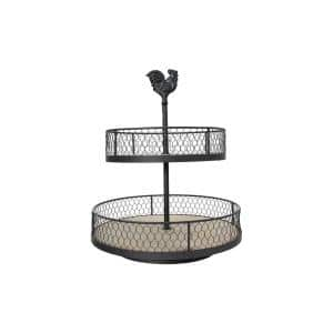Black Decorative 2-Tier Tray with Rooster Top