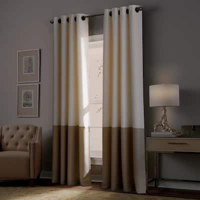 Ivory Color Block Grommet Room Darkening Curtain - 50 in. W x 84 in. L