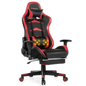Red Gaming Chair Reclining Swivel Racing Office Chair with Footrest