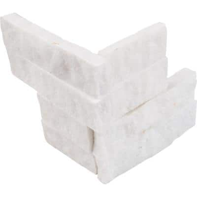 Arctic White Ledger Corner 6 in. x 6 in. Natural Marble Wall Tile (2 sq. ft./Case)