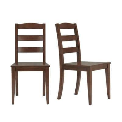 Walnut Finish Dining Chair with Ladder Back (Set of 2) (17.72 in. W x 36.77 in. H)