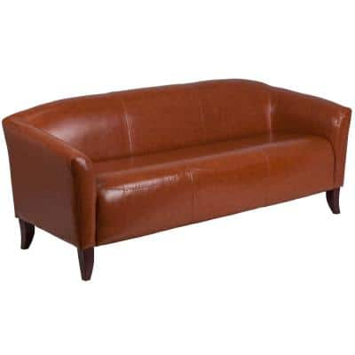 72.8 in. Cognac Faux Leather 4-Seater Bridgewater Sofa with Square Arms