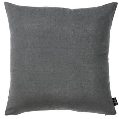 Josephine Grey Solid Color 18 in. x 18 in. Throw Pillow Cover (Set of 2)