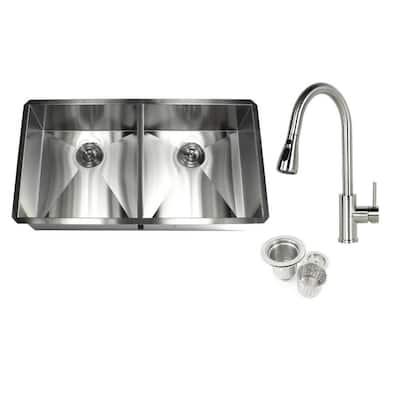 Undermount Deep Stainless Steel 37 in. x 20 in. x 10 in. 16-Gauge 50/50 Zero Radius Double Bowl Kitchen Sink with Faucet
