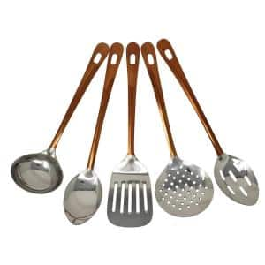 5-Piece Copper Stainless Steel Serving Utensil Set (Spoon, Slotted Spoon, Turner, Ladle and Skimmer)
