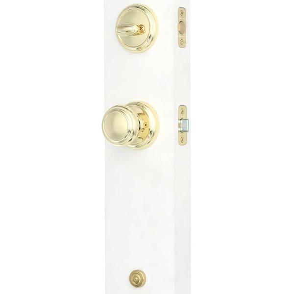 BALDWINWesley Polished Brass Smartkey Deadbolt Keyed Entry Door Handleset NEW